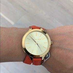 Michael Kors Women's Slim Double Wrap Orange Watch